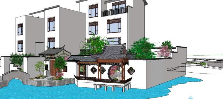 中式小场景别墅景观SU模型设计