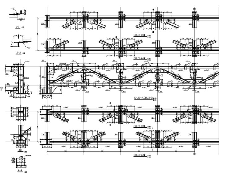 24米跨钢结构桁架施工图(CAD)