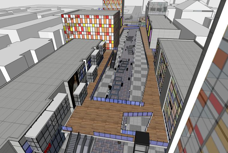商业街建筑景观设计SU模型