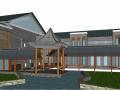 新中式风格旅游服务中心建筑群SU模型
