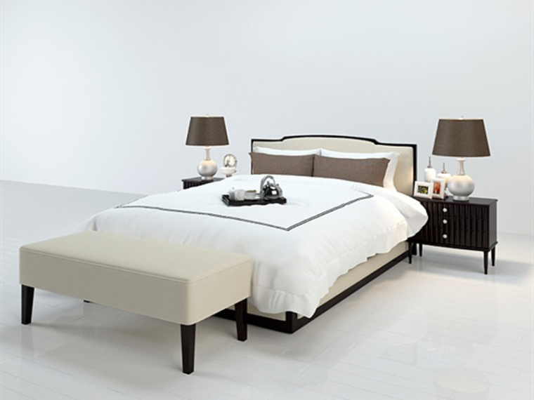 宽敞双人床3D模型下载