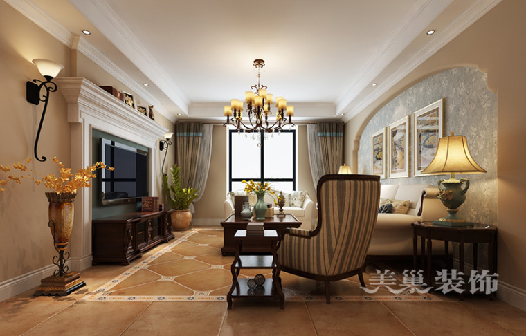 锦绣山河132平美式田园装修,年轻夫妻的大方端庄四居室
