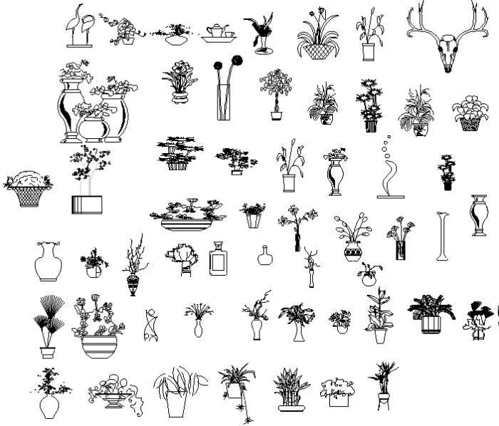 常用园林植物图例(CAD平面图+PSD立面图)-植物立面图例