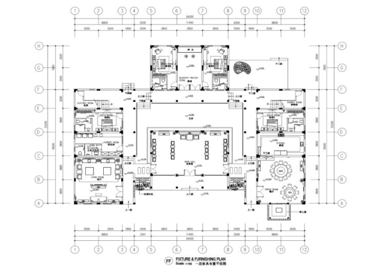 某中式二层别墅室内设计施工图(含效果图,施工图JPG)-一层布置平面图JPG