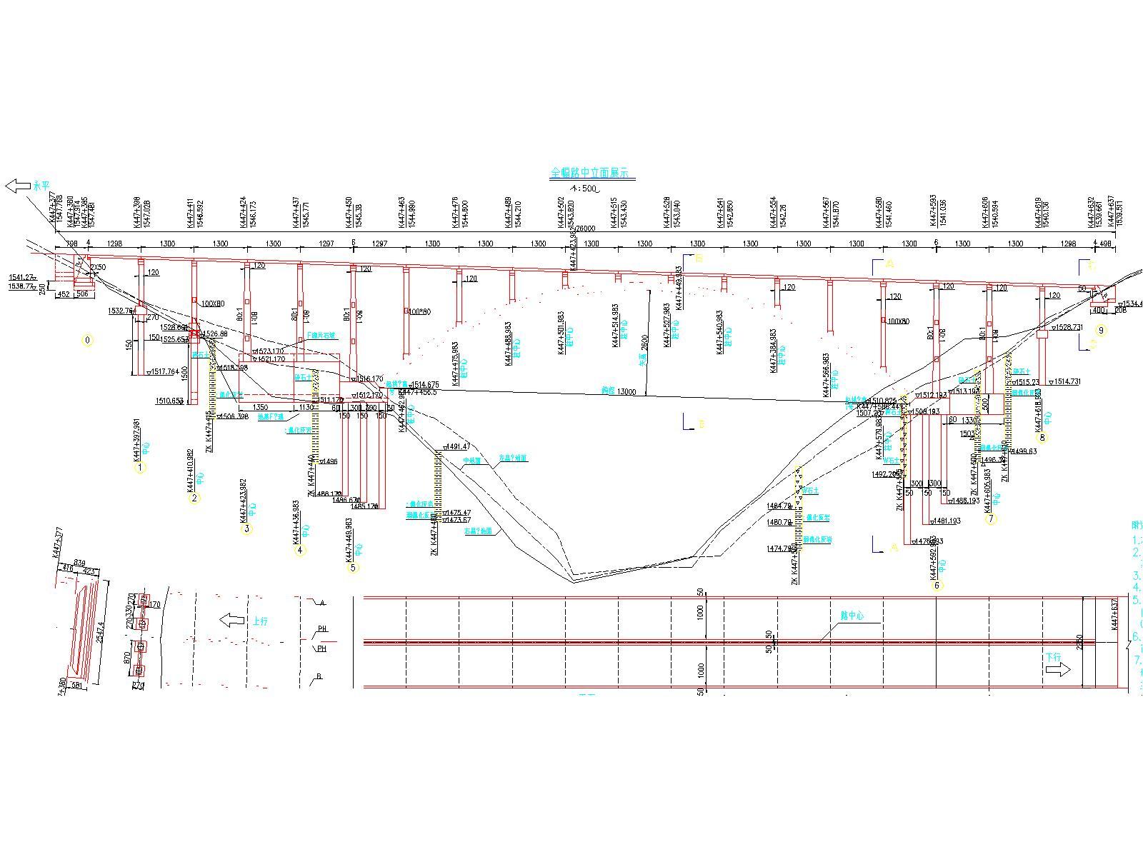 25m 设计速度:80 km/h    荷载等级:公路—Ⅰ级 行车道数:双向四车道图片