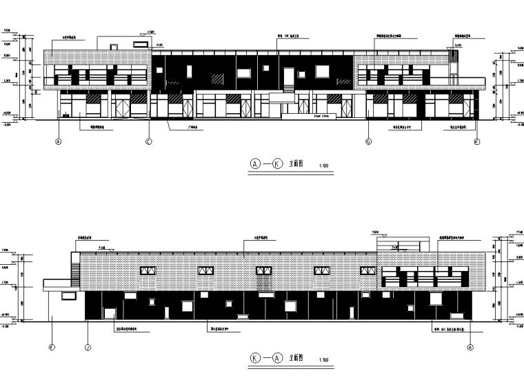 某小区配套二层商业建筑设计方案施工图CAD