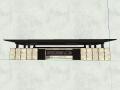 信连御雲室小区入口大门设计模型(新中式风格)