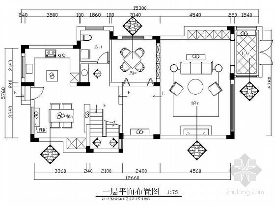 [上海]现代北欧风情复式装修CAD施工图(含效果图)