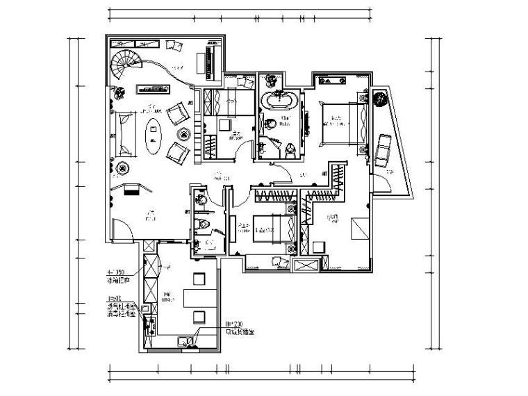 [广州]温馨舒适小型别墅室内设计CAD施工图(含效果图、材料表)