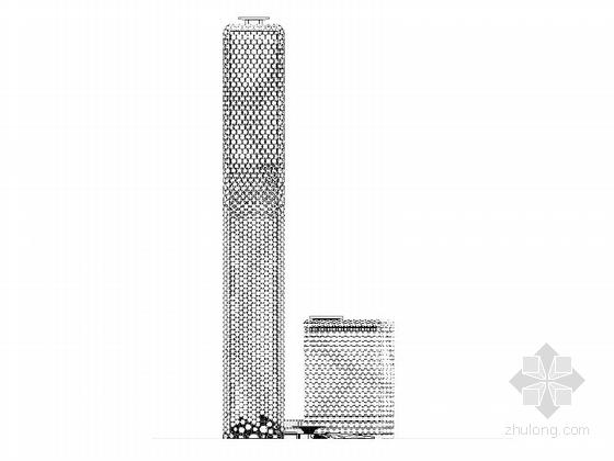[天津]超高层框架钢结构航障灯墙面办公酒店综合体建筑施工图