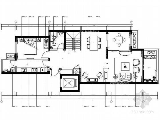 [西安]别致中式风格三层别墅样板间室内装修图(含实景)