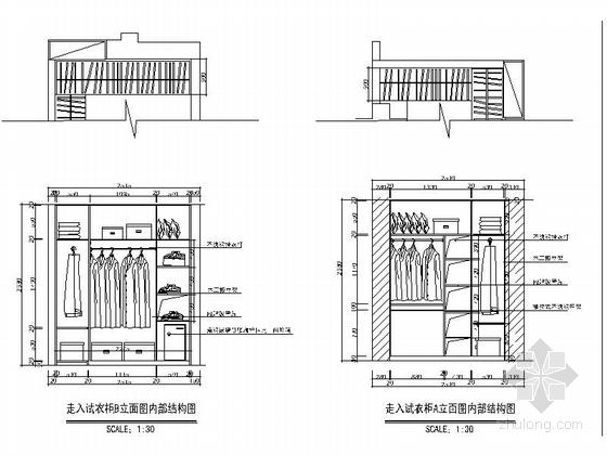 一小套经典三居室家装施工图衣柜立面图