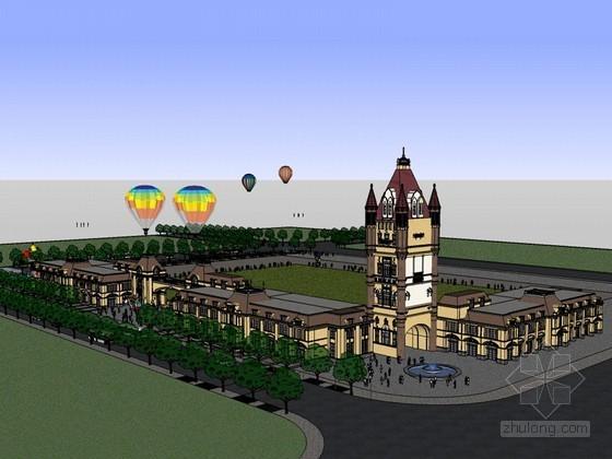 欧式广场SketchUp模型下载