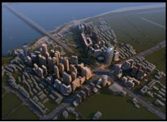 建筑规划效果图鸟瞰黄昏后期制作-设计连连看_14
