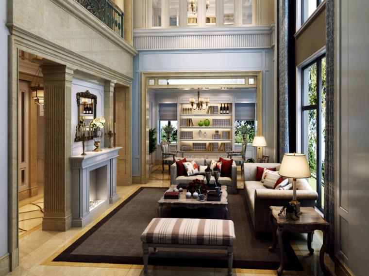 欧式明亮别墅客厅3D模型下载