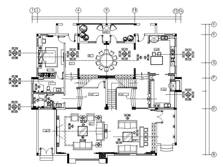 [长沙]一套超完整的奢华别墅设计施工图(含效果图)