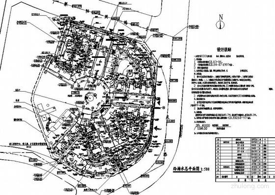 江苏某小区给排水总平面图