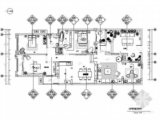 [湖北]温馨现代风格三居室样板房室内装修施工图(含实景图)