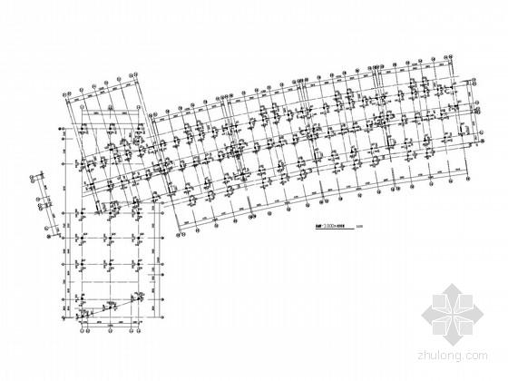 弧形6层框架住宅楼结构施工图(夯式灌注桩)