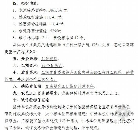 农村公路养护工程路面维修工程项目招标文件