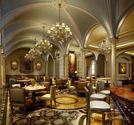 [天津]渤海之巅度假旅游区铂金超五星级酒店设计方案风味餐厅效果图