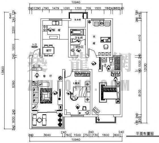 样板房精装修施工图(三室两厅两卫)