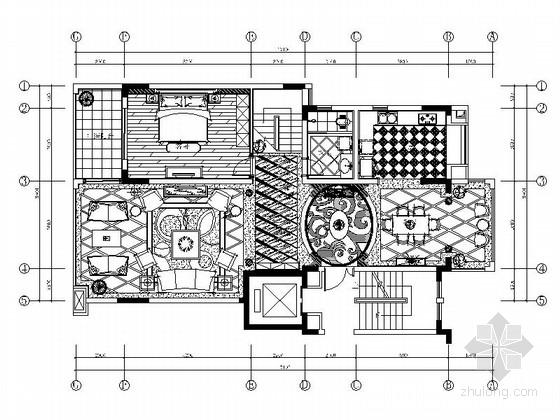 [成都]某欧式风格跃层样板房装修施工图(含实景)