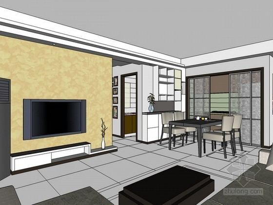 现代简约室内场景sketchup模型下载