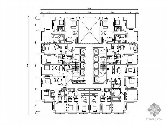 一梯四户小户型公寓平面资料下载-塔式高层一梯九户户型图