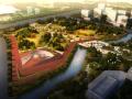 现代滨水运动公园鸟瞰图PSD分层素材