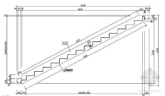 两跑钢结构楼梯详图(二)