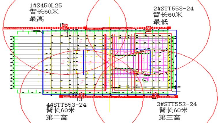 甘肃文化艺术中心场馆STT553塔吊安拆方案(四层钢框架支撑+钢砼框剪结构)