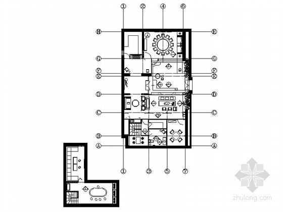 [山东]原创古镇胡同内高雅现代中式会所室内装修施工图(含效果)