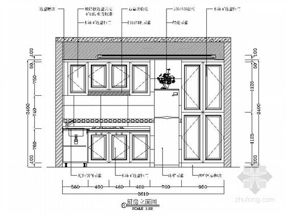 [广州]花园洋房小区欧式风情三居室雅居设计装修图厨房立面图