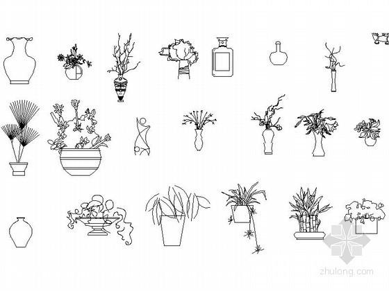 室内装饰植物及装饰品CAD图块下载
