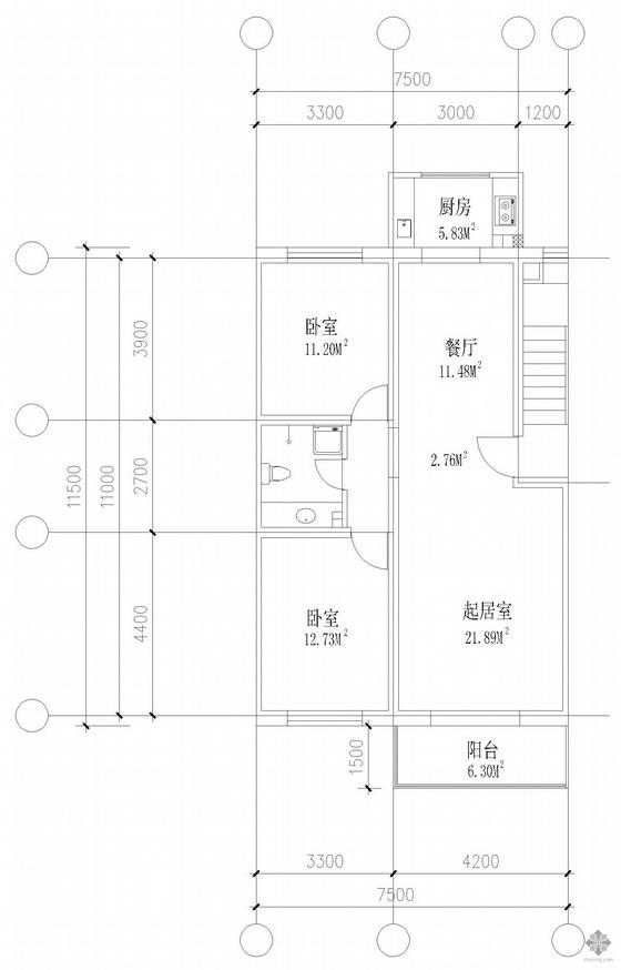 板式多层两室单户户型图(120)