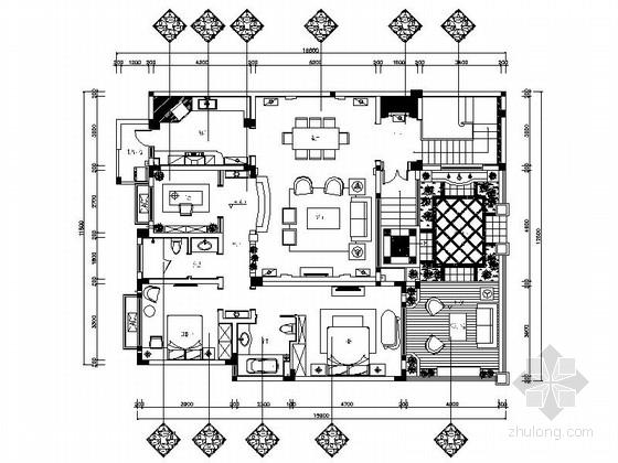 [成都]简欧式叠层花园洋房样板间施工图(含效果)