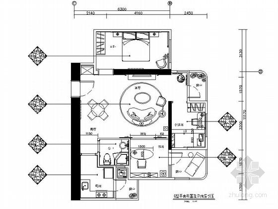 [广州]温馨一居室小户型家装室内CAD施工图(含效果图)