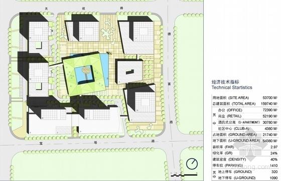 [上海]辐射组合型现代化商业及办公综合体设计方案文本-辐射组合型现代化商业及办公综合体总平面图