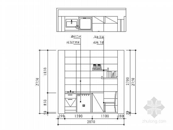 [宁波]姚江官邸雅致现代两居室装修施工图阳台立面图