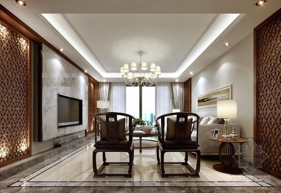 [广州]名师设计精品新中式风格五居室样板间装修施工图(含效果)