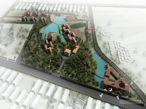[广东]现代风格职业学院规划及单体建筑设计方案文本