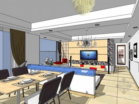 室内客餐厅场景sketchup模型下载