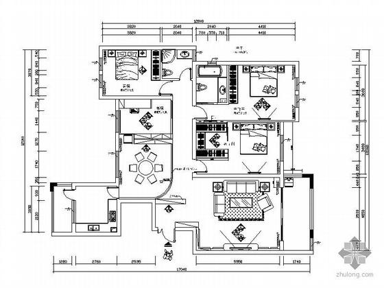 现代时尚四居室设计图(含效果图)