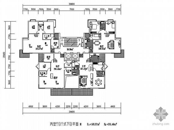 高层塔式一梯四户户型(193.6/193.6/201.5/201.5)