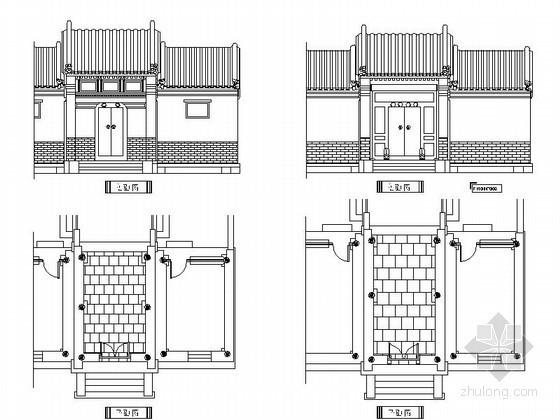 中式古典大门CAD图块下载