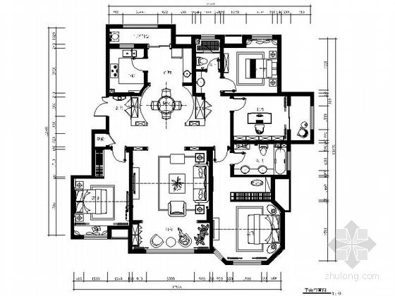 [山东]欧式轻奢华丽样板间室内施工图(含实景照片)