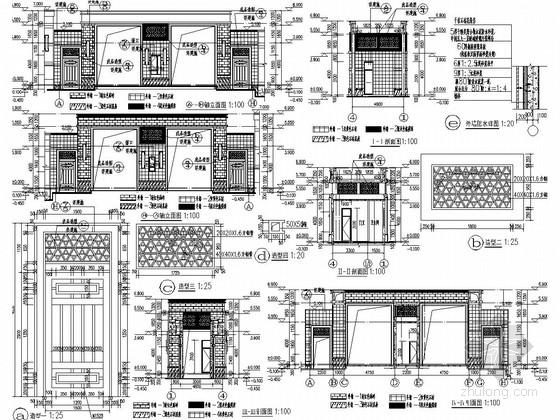 地上一层框架结构小区大门结构施工图(含建筑图)