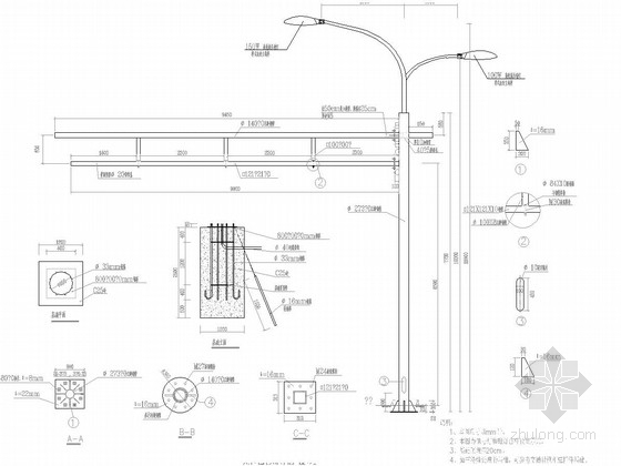 信号灯杆设计图 挑长9m