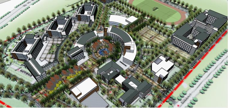 滦平一中小区整体规划SU建筑模型